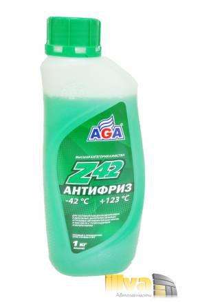 Антифриз зеленый, AGA Z42 (-42°С +123°С) 1 литр, (универсальный, совместимый с G11, G12, G12+, G12++, G13)