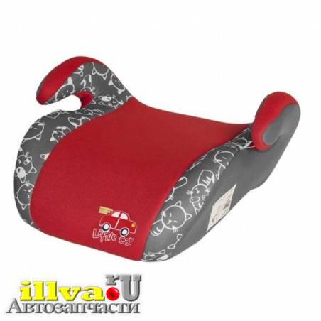 Автокресло подушка 22 36 кг 6-12 лет Little Car smart коты красное