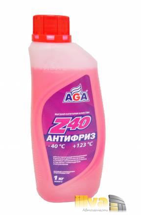 Антифриз красный, AGA, Z40 (-40°С +123°С) 1 литр, (универсальный, совместимый с G11, G12, G12+, G12++, G13)