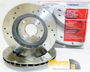 Диски тормозные передние ВАЗ 2110 -2112 СПОРТ R13 - вентилируемые + проточка + перфорация - 21100350107088