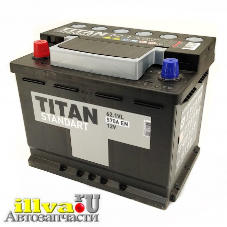 Аккумулятор 62Ач Титан Стандарт 6СТ-62,1 VL, сила тока 570 А EN прямая полярность