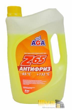 Антифриз желтый, AGA Z65 (-65°С +132°С) 5 литров, (универсальный, совместимый с G11, G12, G12+, G12++, G13)