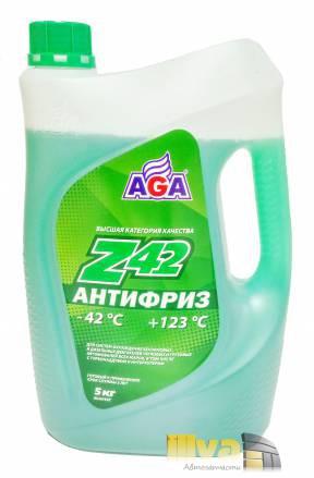 Антифриз зеленый, AGA, Z42 (-42°С +123°С) 5 литров (универсальный, совместимый с G11, G12, G12+, G12++, G13)
