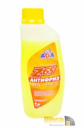 Антифриз желтый, AGA, Z65 (-65°С +132°С) 1 литр, (универсальный, совместимый с G11, G12, G12+, G12++, G13)