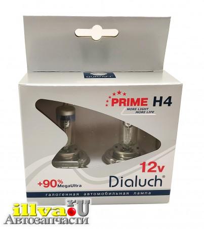 Лампа 12В H4  60/55 Вт Р43 +90% Megalight Ultra PR 2 штуки, Диалуч 12604 PR MU DUO+90%