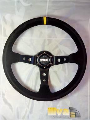 Руль спортивный PROSPORT серии RALLY Ø 350mm, натуральная замша черная (универсальный)  RS-00914