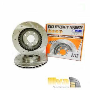 Тормозные диски вентилируемые с перфорацией АЛНАС Спорт на ВАЗ 2110 2112  R14  2шт