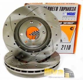 Диски тормозные передние вентилируемые с проточкой и перфорацией АЛНАС Спорт Евро на ВАЗ 2110 R13 2шт 2110-3501070