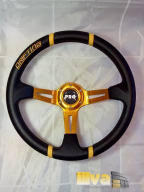 Руль спортивный PROSPORT серии DRIFTING Ø 350 mm, черная кожа с желтыми вставками (универсальный) RS-08328