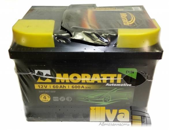 Автомобильный аккумулятор Moratti 60 А/ч, прямая полярность, 12В, 600A (EN) 560 065 060