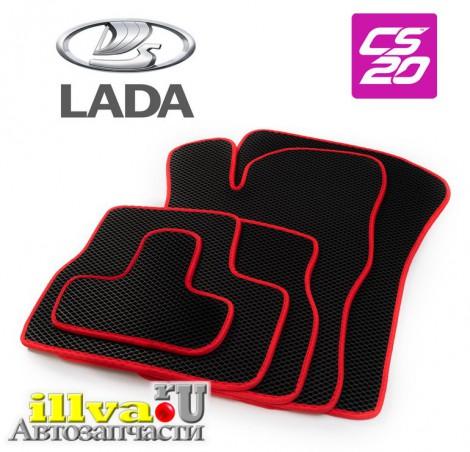 Коврики салона LADA Granta материал EVA черный красный CS-20 с перемычкой 15789