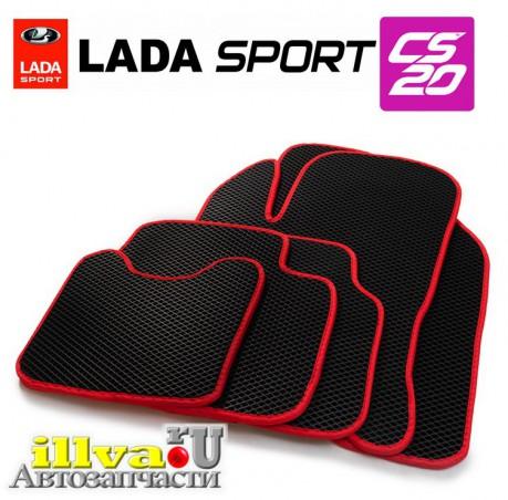 Eva коврики LADA Vesta, Vesta SW, Vesta Cross материал EVA CS-20 черный с красной окантовкой 15790