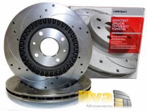 Диски тормозные передние ВАЗ 2112 - 2170 Приора СПОРТ R14 Автоваз - вентилируемый с направленной насечкой и перфорацией диска 21120350107088