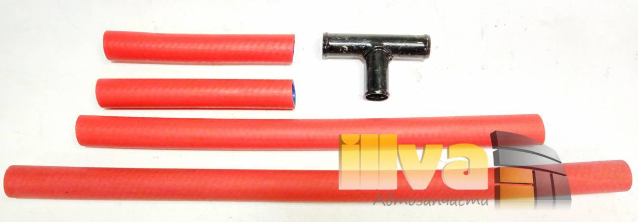Патрубки отопителя ВАЗ 2110 , силикон + каучук, усиленные, красные, PANTUS A-SPORT, (в комплекте 4 патрубка с тройником)