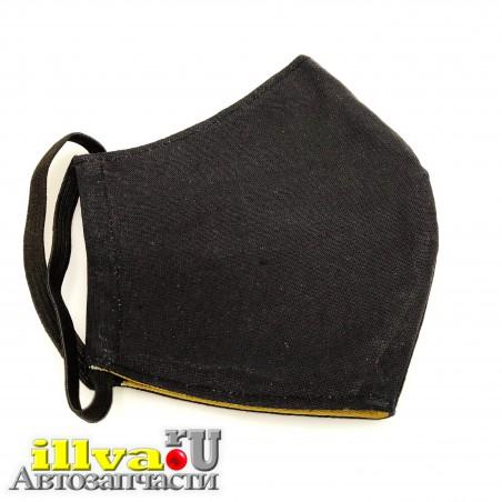 Маска защитная трехслойная из натуральной ткани, многоразовая, двухсторонняя черный + хаки,  мужская