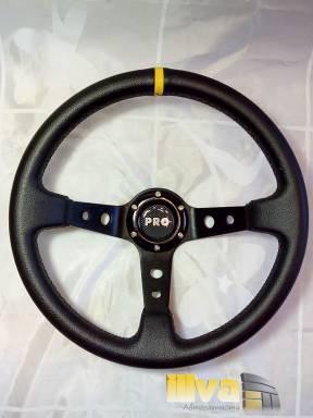 Руль спортивный PROSPORT серии RALLY Ø 350mm, черный винил - натуральная кожа (универсальный)