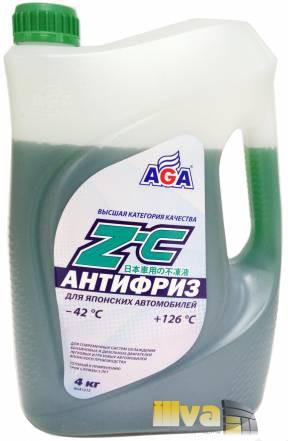 Антифриз зеленый, AGA, Z-C (-42°С +126°С) 4 литров (универсальный, для японских автомобилей)
