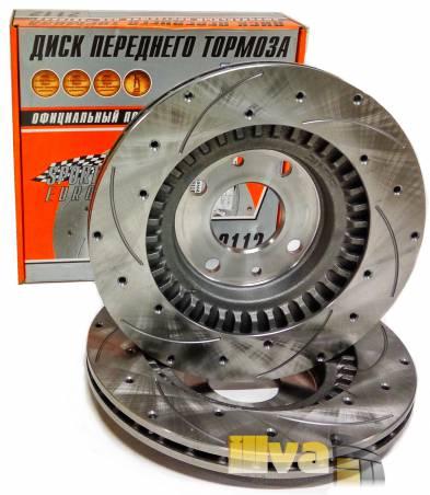 Тормозные диски вентилируемые с насечками и перфорацией Алнас Спорт Евро на ВАЗ 2112 2170 2190  R14  2шт 2112-3501070