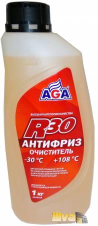 Антифриз очиститель, AGA, R30 (-30°С +108°С) 1 литр, (универсальный, совместимый с G11, G12, G12+, G12++, G13)