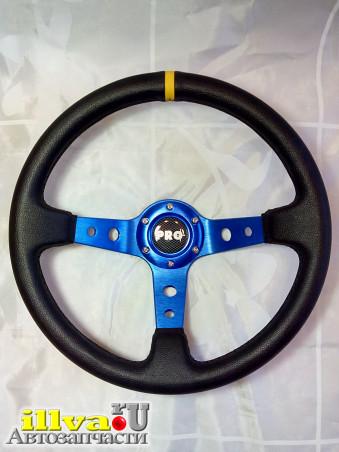 Руль спортивный PROSPORT серии RALLY Ø 350mm, синий винил - натуральная кожа (универсальный) RS-00270