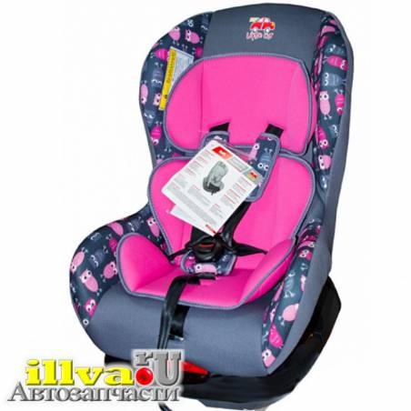 Детское автокресло 0 18  кг Little Car Soft до 4 лет совы розовое