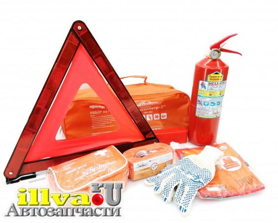 Набор автомобилиста знак аварийный + перчатки + огнетушитель + трос буксировочный + аптечка + жилет AIRLINE ANA-002
